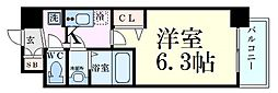 京阪本線 天満橋駅 徒歩5分の賃貸マンション 3階1Kの間取り