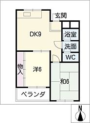 愛知県名古屋市東区矢田5丁目の賃貸マンションの間取り