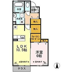 富山県富山市黒崎の賃貸アパートの間取り
