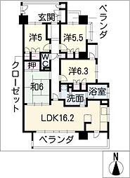 レジディア白壁東[4階]の間取り
