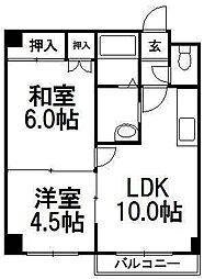 ソシアルコートK3・4[203号室]の間取り