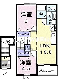 Croud Ookubo B棟 2階2LDKの間取り