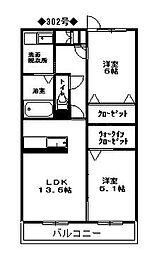 メゾンドリバティ那珂川[3階]の間取り