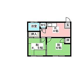 米常荘[1階]の間取り