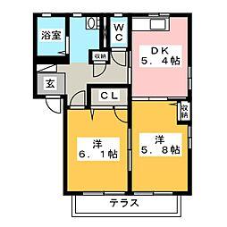 サンリバーB[1階]の間取り