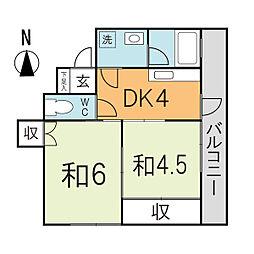 青木ビル[305号室]の間取り