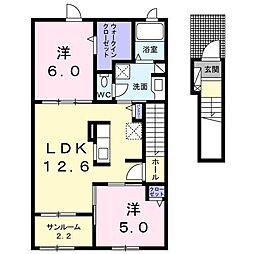[大東建託]グランヴィラーシュII(三戸町)[2階]の間取り
