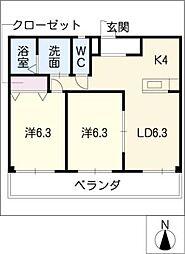 メゾンボヌールB[3階]の間取り