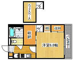 南海線 住ノ江駅 徒歩8分の賃貸マンション 1階1Kの間取り