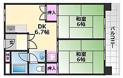 中百舌鳥公園1号棟 9階2DKの間取り