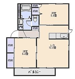 アンシャーリーB棟[2階]の間取り