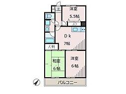 サニーフラットK[3階]の間取り