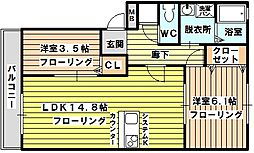 大阪府大阪市東淀川区淡路4丁目の賃貸アパートの間取り