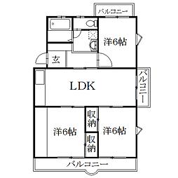 静岡県磐田市国府台の賃貸マンションの間取り