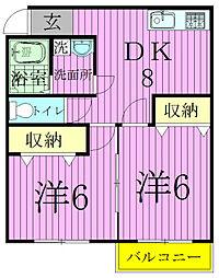 花嶋コーポB[103号室]の間取り