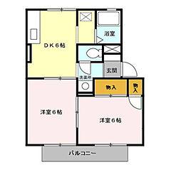 千葉県東金市西福俵の賃貸アパートの間取り
