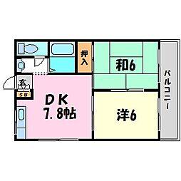 兵庫県西宮市上鳴尾町の賃貸アパートの間取り