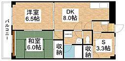 岡山県岡山市北区野田2丁目の賃貸マンションの間取り