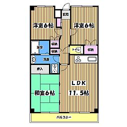 東京都立川市一番町4丁目の賃貸マンションの間取り