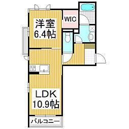(仮)シャーメゾン高田 1階1LDKの間取り