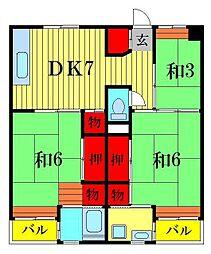 ビレッジハウス江戸川台2号棟[2階]の間取り