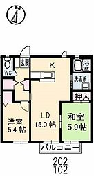 山口県下関市伊倉東町の賃貸アパートの間取り