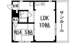 兵庫県宝塚市栄町2丁目の賃貸マンションの間取り