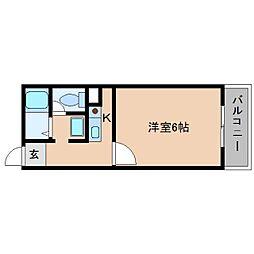 近鉄南大阪線 高田市駅 徒歩3分の賃貸マンション 5階1Kの間取り