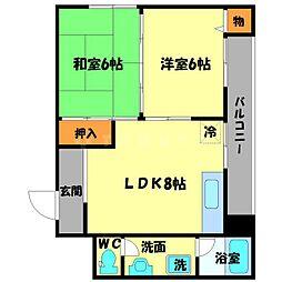 東豊中マンション[4階]の間取り