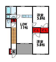 ハーマジェスティーD棟[2階]の間取り