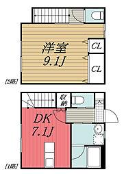京成本線 京成佐倉駅 徒歩7分の賃貸タウンハウス 1階1DKの間取り