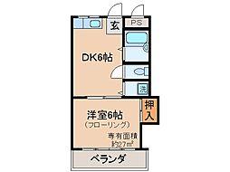 京都府京都市山科区日ノ岡ホッパラ町の賃貸アパートの間取り