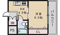 コーポイン美章園&河堀口[7階]の間取り