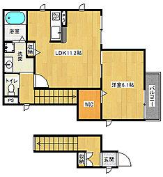 京阪京津線 四宮駅 徒歩3分の賃貸アパート 2階1LDKの間取り