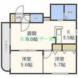 北海道札幌市東区北二十八条東17丁目の賃貸マンションの間取り
