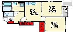 メゾンドミニヨン[1階]の間取り