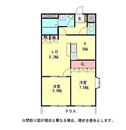 愛知県一宮市猿海道1丁目の賃貸アパートの間取り