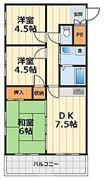 神奈川県大和市上草柳2丁目の賃貸マンションの間取り