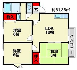 福岡県大野城市牛頸4丁目の賃貸アパートの間取り