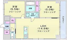 仙台市営南北線 北四番丁駅 徒歩5分の賃貸マンション 7階2LDKの間取り