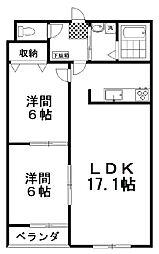 ラフィーネ壱番館 3階2LDKの間取り