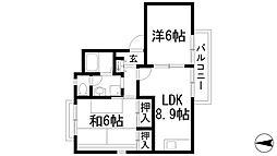 兵庫県川西市下財町の賃貸アパートの間取り