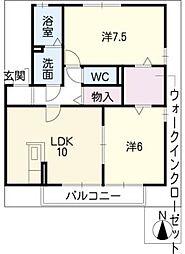 カトル セゾンA[2階]の間取り