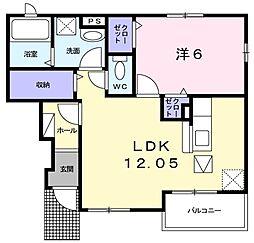 西武池袋線 東久留米駅 徒歩23分の賃貸アパート 1階1LDKの間取り