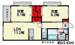 福岡県福岡市南区弥永5丁目の賃貸マンションの間取り