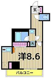 プレール・ドゥーク梅島 5階ワンルームの間取り