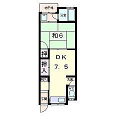 滋賀県近江八幡市日吉野町の賃貸アパートの間取り