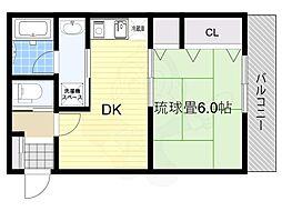 震雲マンション 2階1DKの間取り