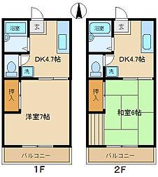 ブルーベルハウスA・B[B206号室]の間取り