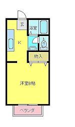 愛媛県西条市三芳の賃貸アパートの間取り